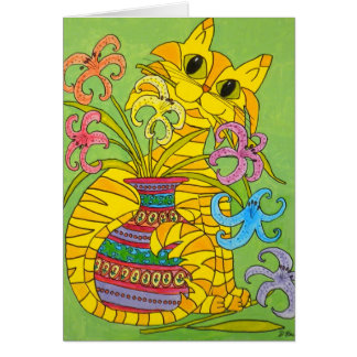 Yellow Cat with Vase of Lilies Card