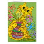 Yellow Cat with Vase of Lilies Greeting Card