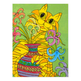 Yellow Cat with Vase of Lilies Postcard