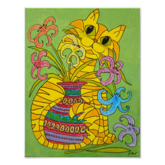 Yellow Cat with Vase of Lilies Poster