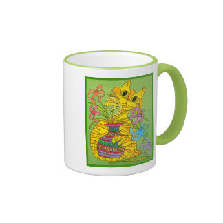 Yellow Cat with Vase of Lilies Ringer Mug