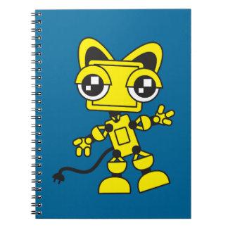 Yellow Catbot Spiral Notebook