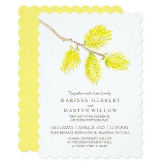 Yellow catkin watercolor wedding invitations