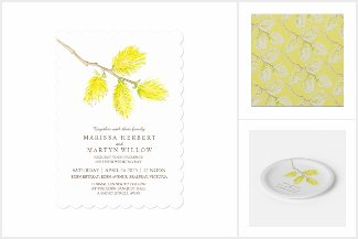 Yellow catkins willow watercolor art wedding