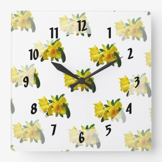 Yellow Cattleya Orchids Square Wall Clock
