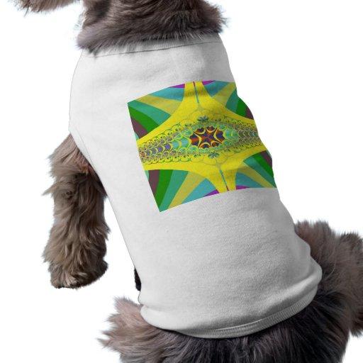 Yellow Centipede Fractal Dog Tee Shirt