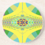 Yellow Centipede Fractal Drink Coasters