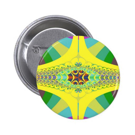 Yellow Centipede Fractal Pinback Buttons
