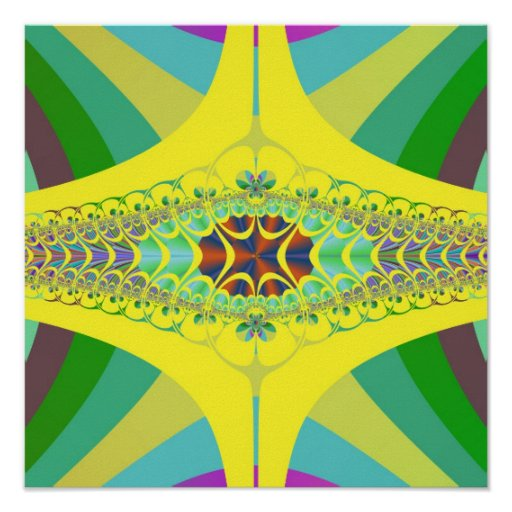 Yellow Centipede Fractal Poster