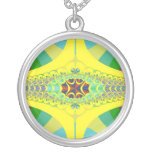 Yellow Centipede Fractal Silver Plated Necklace