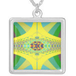 Yellow Centipede Fractal Square Pendant Necklace