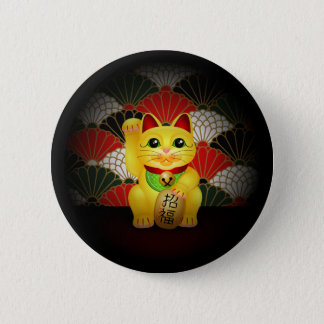 Yellow Ceramic Maneki Neko Button
