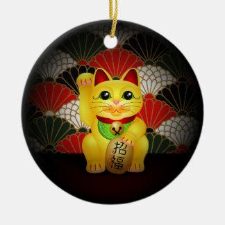 Yellow Ceramic Maneki Neko Ceramic Ornament