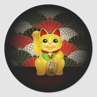 Yellow Ceramic Maneki Neko Classic Round Sticker