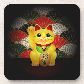 Yellow Ceramic Maneki Neko Drink Coaster