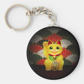 Yellow Ceramic Maneki Neko Keychain