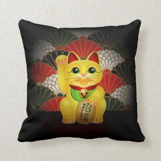 Yellow Ceramic Maneki Neko Throw Pillows