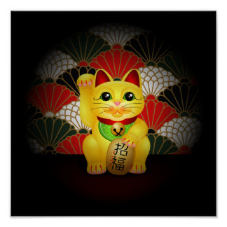 Yellow Ceramic Maneki Neko Poster
