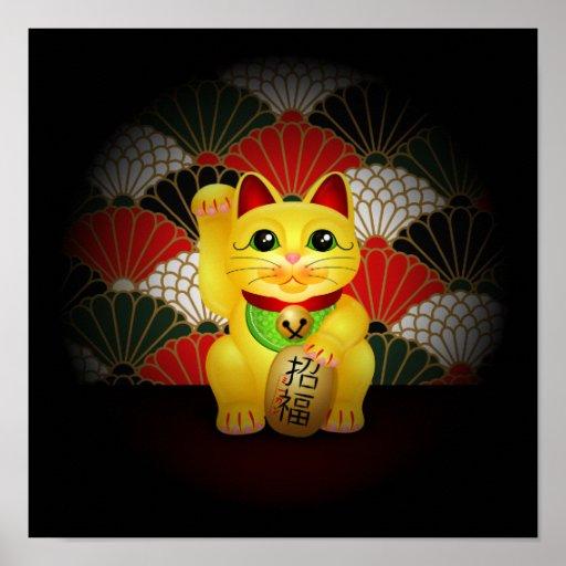 Yellow Ceramic Maneki Neko Poster