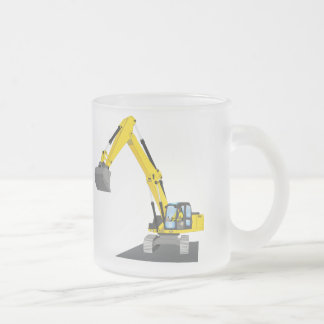 yellow chain excavator frosted glass coffee mug
