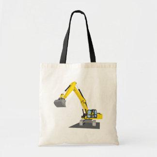 yellow chain excavator tote bag