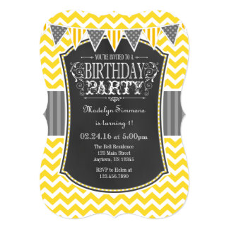 Yellow Chalkboard Chevron Birthday Invite