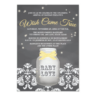 YELLOW Chalkboard Firefly Mason Jar Baby Shower Card