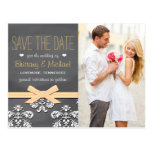 Yellow Chalkboard Lace Bow Save the Date Postcard