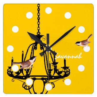 Yellow Chandelier Bird Clock Personalized
