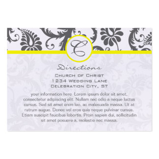 Yellow & Charcoal Gray Damask Wedding Info Cards Large Business Cards (Pack Of 100)