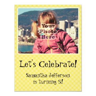 Yellow Check Cute Photo Birthday Party Invitations