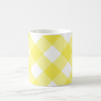 Yellow Check Plaid Classic White Mug
