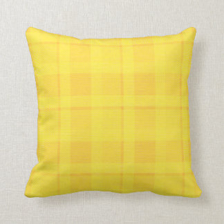 Yellow Checked Fabric Throw Pillow