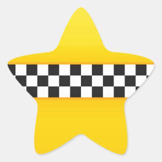 Yellow Checkerboard Pattern Star Sticker