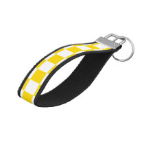 Yellow Checkerboard Wrist Keychain