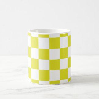 yellow checkered coffee mug