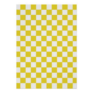 Yellow Checkered Pattern Poster