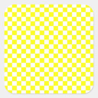 Yellow Checkered Square Stickers