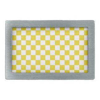 Yellow Checkers Rectangular Belt Buckles