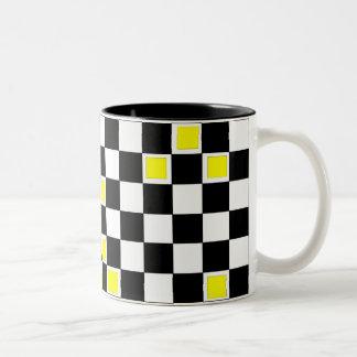 Yellow Checkers Two-Tone Coffee Mug