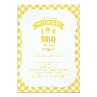 Yellow Checks BBQ Neutral Baby Shower Summer Party Card