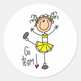 Yellow Cheerleader Classic Round Sticker