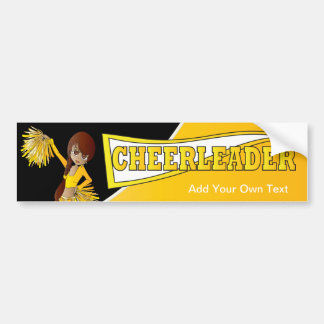 Yellow Cheerleader Diva Girl Bumper Sticker