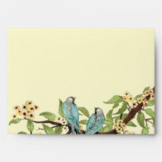 Yellow Cherry Blossom Vintage Aqua Bird Envelopes