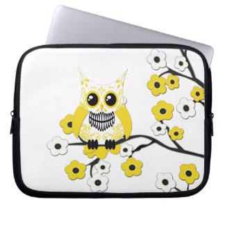 Yellow Cherry Blossoms Owl Electronics Bag