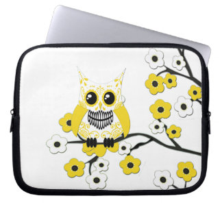 Yellow Cherry Blossoms Owl Electronics Bag Laptop Computer Sleeves
