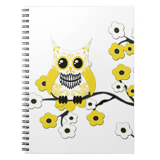 Yellow Cherry Blossoms Owl Notebook