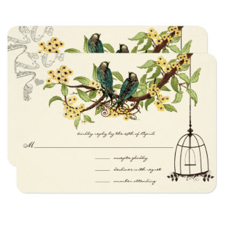 Yellow Cherry Blossoms Teal Birds Birdcage RSVP Card