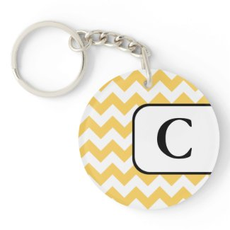 Yellow Chevron Acrylic Monogram Keychain Acrylic Keychain