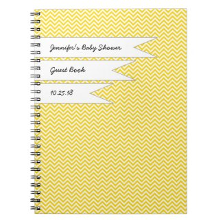 Yellow Chevron Baby Bridal Shower Guest Book